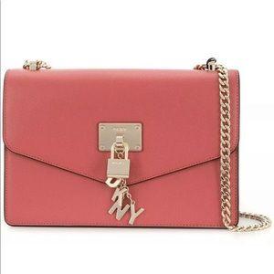 NWT DKNY Elissa pink salmon leather crossbody bag